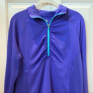 Adidas Climalite Quarter Zip Jacket Purple Blue L